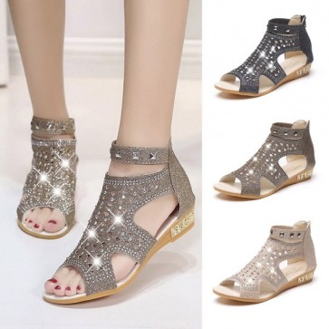 Zipped Rhinestone Sandals Hollow-out Roman Gladiator Shoes