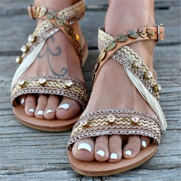 Women Summer Flat Sandals Gladiator Roman Shoes