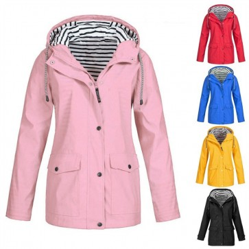 Women Fashion Outdoor Rain Coat Jacket