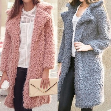 Women Lapel Furry Warm Coat