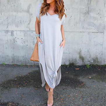 Womens Summer Short Sleeve Maxi Dress