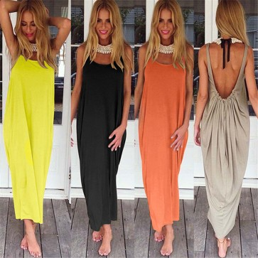 Womens Boho Backless Summer Long Dress