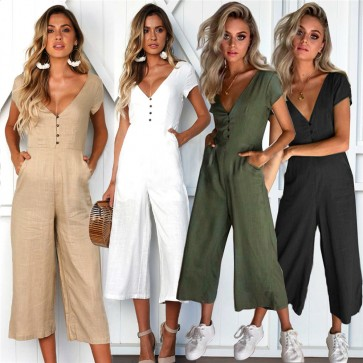 Womens Short Sleeve Wide Leg Trousers V Neck Jumpsuits Playsuit Culotte