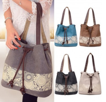 Women Ladies Canvas Summer Beach Tote Bag