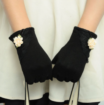 Lace Flower Women Touch Screen Gloves