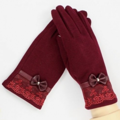 Women Gloves Lace Bowknot